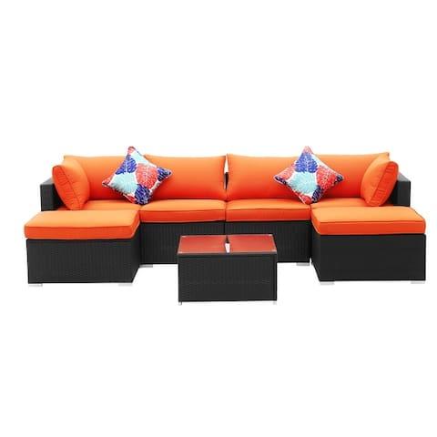 7-Piece Outdoor Patio Furniture Rattan Cushioned Sofa Sets