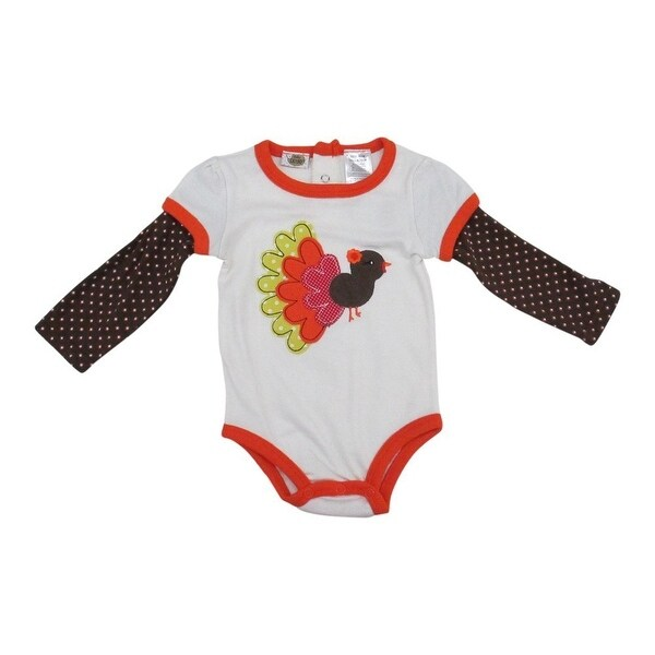 Baby Girls Brown White Needle Point Pattern Peacock Applique Bodysuit 12-24M