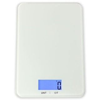 Sunnydaze Large Digital Food Kitchen Scale with Tempered Glass Top and LCD Display, 11 lb./5kg (Batteries Included)