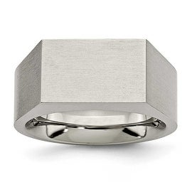 Chisel Titanium Polished and Brushed Signet Ring