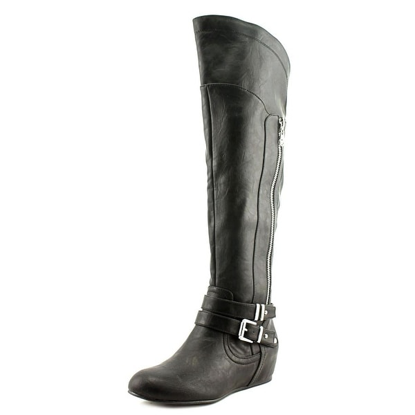 G By Guess Gaines Women Round Toe Synthetic Black Knee High Boot