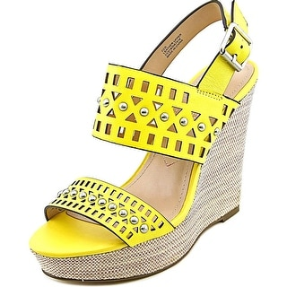Charles By Charles David Aloof Women Open Toe Leather Yellow Wedge Sandal