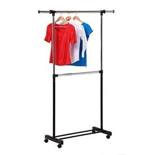 Honey-Can-Do GAR-01767 double bar garment rack , chrome/black