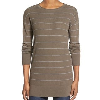 Caslon NEW Green Women's Size XS Ribbed Striped Crewneck Sweater