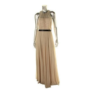 ABS Collection Womens Pleated Chiffon Evening Dress