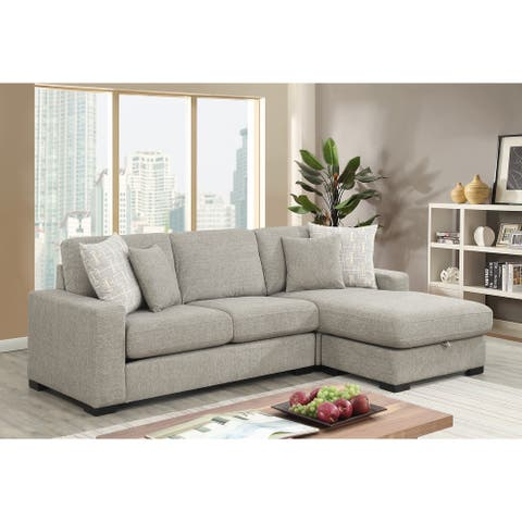 Porch & Den Gloria Grey Reversible Sectional with Hidden Storage
