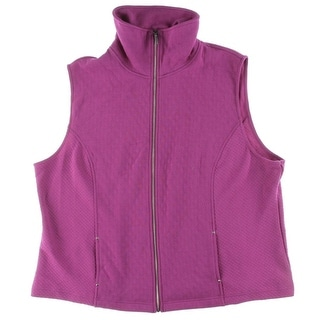 Karen Scott Womens Plus Zipper-Front Quilted Casual Vest - 3X