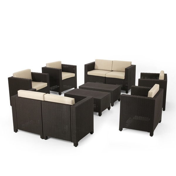 Waverly Outdoor Faux Wicker 8 Seater Chat Set with Cushions by Christopher Knight Home. Opens flyout.