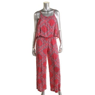 C & C California Womens Woven Printed Jumpsuit - M