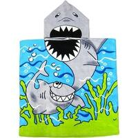 Kreative Kid Kids Unisex Blue Shark Poncho Hooded Bath & Beach Towel - One Size