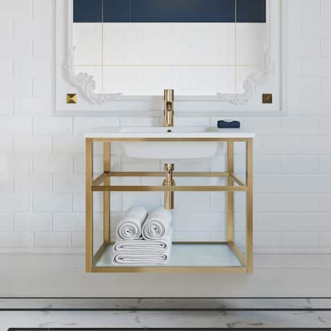 Pierre 30 Single, Open Shelf, Metal Frame Bathroom Vanity