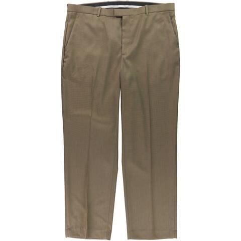 Perry Ellis Mens Flat Front Birdseye Dress Pants Slacks