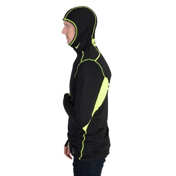 Respeto a ti mismo Presa Trastornado  Nike Mens Pro Combat Hyperwarm Dri FIT Max Hooded Running Shirt Black -  Black/Volt - Overstock - 22614305