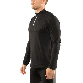 Virus Stay Warm Coffee Charcoal 1/2 Zip Mock Neck Pullover Jacket - Black