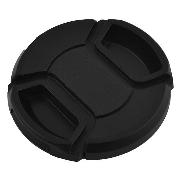 Plastic Front Snap Digital Camera Clip-on Lens Cap Cover Black 52mm w Cord