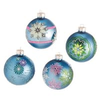 Set of 4 Dazzling Blue Snowflake Design Glass Ball Christmas Ornaments 3.5""