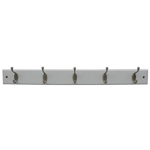 5 Double Hook Wall Mounted Hanging Rack, White
