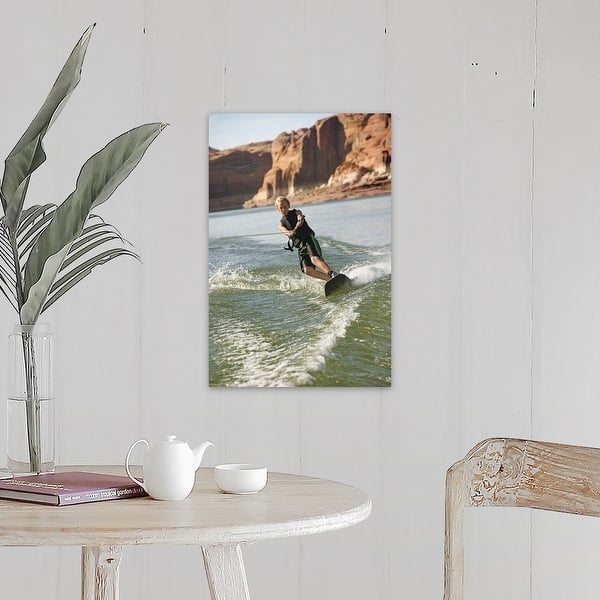 Solid-Faced Canvas Print Wall Art entitled Midair wakeboarder