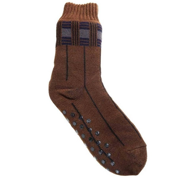 Mad Style Rust Orange Men's Fleece Lined House Socks - Rust Orange