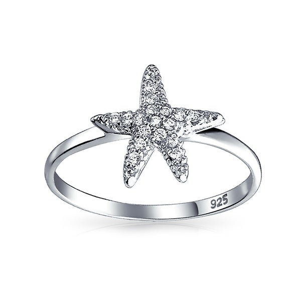 Bling Jewelry Large Starfish Nautical Sterling Silver Beach Ring