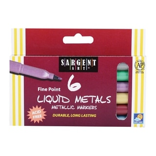 Sargent Art Fine Point Liquid Metal Metallic Markers - Set of 6 - Assorted Colors