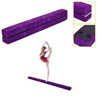 Costway 7' Sectional Gymnastics Floor Balance Beam Skill Performance Training Folding - Purple