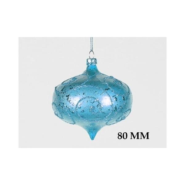 Christmas at Winterland WL-ONION-80-AQ 3 Inch Onion Ornament Teal with Aqua Glitter