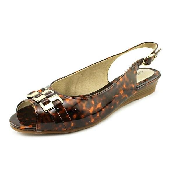 Easy Street Chayla Women WW Peep-Toe Synthetic Brown Slingback Heel