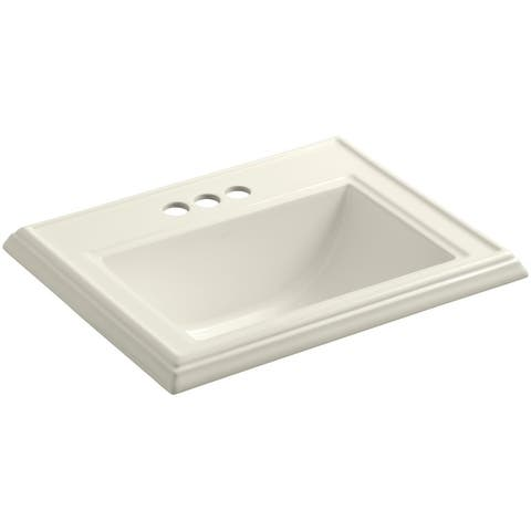 "Kohler K-2241-4 Memoirs 17"" Drop In Bathroom Sink with 3 Holes Drilled"