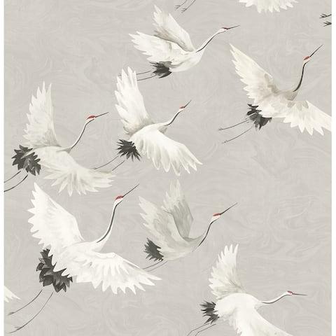 Windsong Grey Bird Wallpaper - 20.5in x 396in x 0.025in