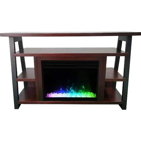 Cambridge 32-In. Sawyer Industrial Electric Fireplace Mantel with Deep Crystal Display and Color Changing Flames, Mahogany