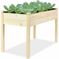 Wooden Raised Vegetable Garden Bed Elevated Grow Vegetable Planter W/Black Liner
