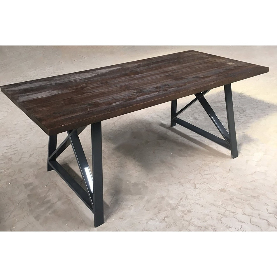 2xhome Dark Wood Industrial Mid Century Modern Steel Frame Metal Leg Dining  Table Kitchen Home Commercial 71\