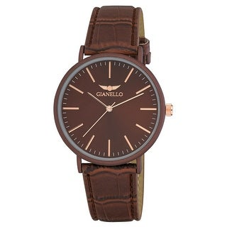 Link to Gianello GNL7714BN Unisex 41mm Grey Case  Sleek Grey Leather Strap Watch - One size Similar Items in Men's Watches