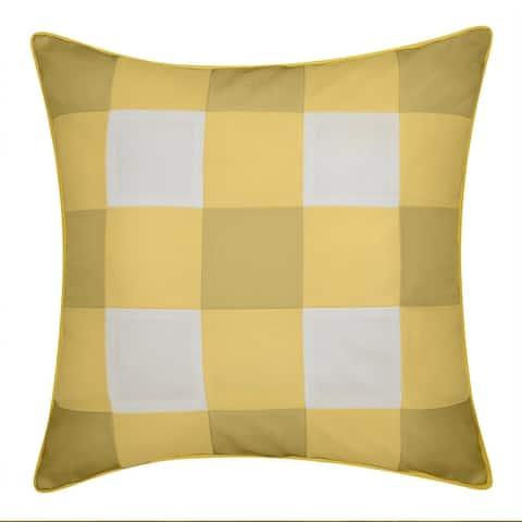 Edie AtHome Outdoor Gingham Decorative Pillow, Citron