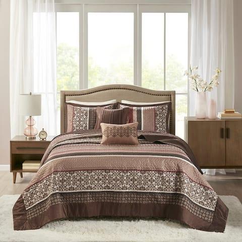Madison Park Dartmouth Red 5-piece Jacquard Bedspread Set