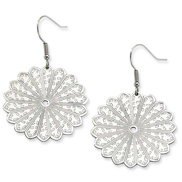 Chisel Stainless Steel Fancy Scalloped Edge Dangle Earrings