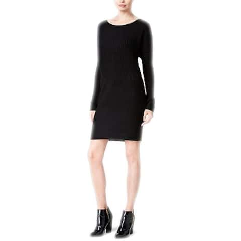Bar III Women's Knit Long Sleeves Sweater Dress Black Small