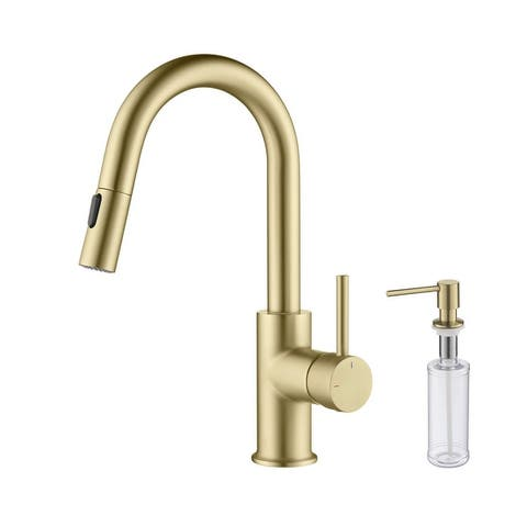 Single-Hole Pull-Down Kitchen Faucet with Sprayer and Magnetic Docking