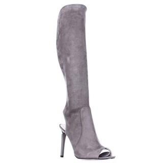 Nine West Lettie Tall Open Heel Open Toe Fashion Boots, Grey