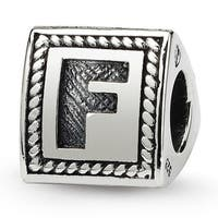Sterling Silver Reflections Letter F Triangle Block Bead (4mm Diameter Hole)