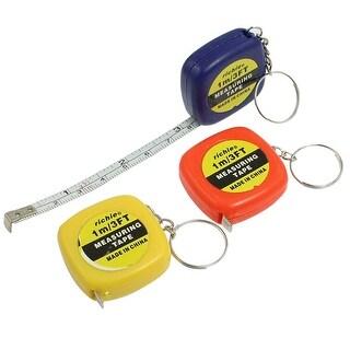 3 Pcs Multifunction Plastic Case 1 Meter 3 Feet Mini Tape Measure w Key Ring
