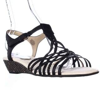Easy Spirit Malawi Espadrille Wedge Strappy Sandals - Black Multi