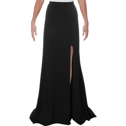City Studio Womens Juniors Maxi Skirt Knit Slit - Black