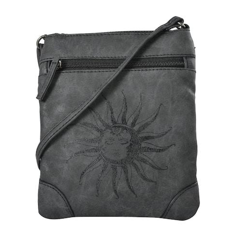 Le Chateau Handcrafted Sunburst Faux Leather Pebbled Crossbody Bag