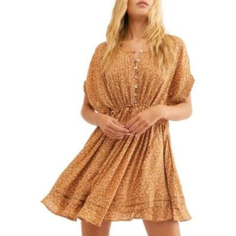 FREE PEOPLE Gold Short Sleeve Above The Knee Sheath Dress Size S