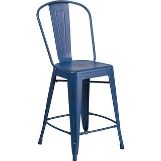 Brimmes 24'' High Distressed Antique Blue Metal Indoor/Outdoor/Patio/Bar Counter Height Stool w/Back