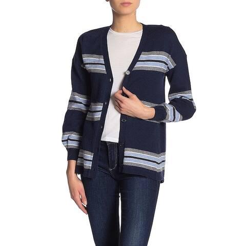 Democracy Blue Multi Womens Size Large L V-Neck Stripe Knit Cardigan