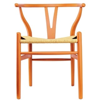 2xhome - Orange Modern Wood Dining Chair With Back Arm Armchair Hemp Seat For Home Restaurant Office
