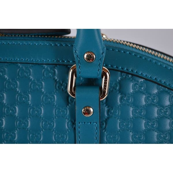 2fc3ae18 Gucci 449657 Cobalt Teal Leather Micro GG Guccissima Crossbody Dome Purse - Cobalt  Teal